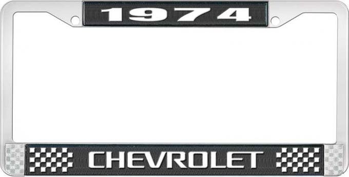 OER 1974 Chevrolet Style # 3 Black and Chrome License Plate Frame with White Lettering LF2237403A