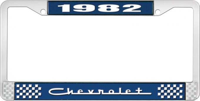 OER 1982 Chevrolet Style # 5 Blue and Chrome License Plate Frame with White Lettering LF2238205B