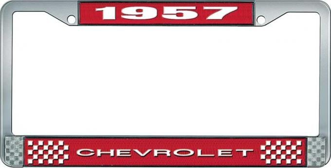 OER 1957 Chevrolet Style #1 Red and Chrome License Plate Frame with White Lettering LF2235701C