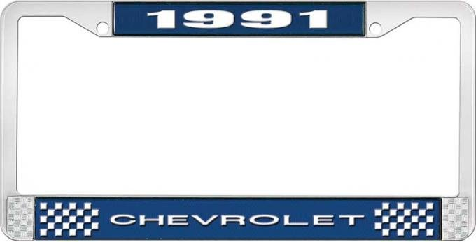 OER 1991 Chevrolet Style # 1 Blue and Chrome License Plate Frame with White Lettering LF2239101B