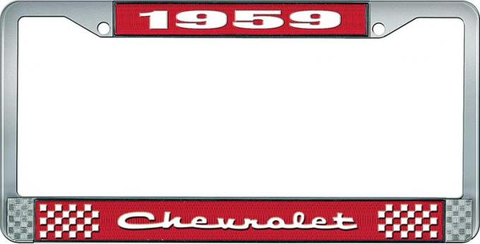 OER 1959 Chevrolet Style #2 Red and Chrome License Plate Frame with White Lettering LF2235902C