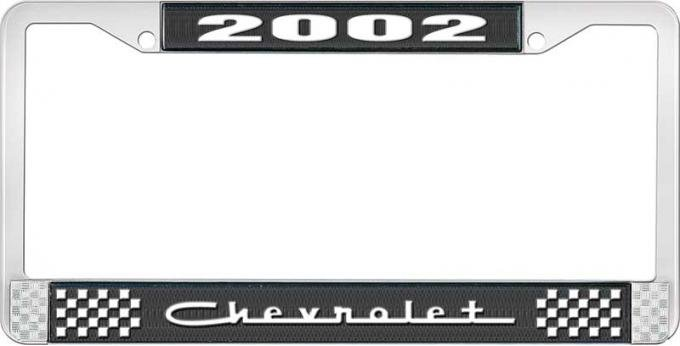 OER 2002 Chevrolet Style #5 Black and Chrome License Plate Frame with White Lettering LF2230205A
