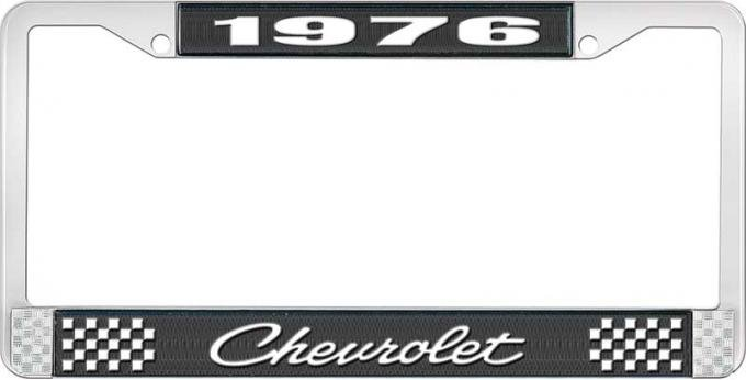 OER 1976 Chevrolet Style # 4 Black and Chrome License Plate Frame with White Lettering LF2237604A