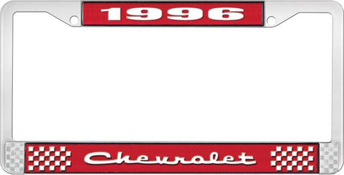 OER 1996 Chevrolet Style # Red and Chrome License Plate Frame with White Lettering LF2239602C