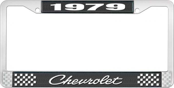 OER 1979 Chevrolet Style # 4 Black and Chrome License Plate Frame with White Lettering LF2237904A