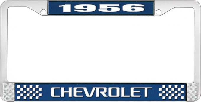 OER 1956 Chevrolet Style #3 Blue and Chrome License Plate Frame with White Lettering LF2235603B