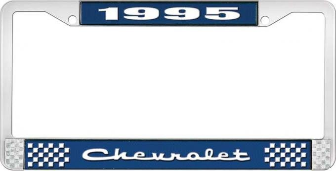 OER 1995 Chevrolet Style # 2 Blue and Chrome License Plate Frame with White Lettering LF2239502B