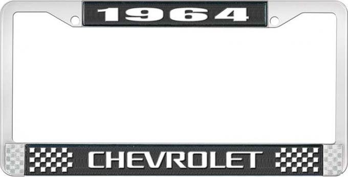 OER 1964 Chevrolet Style #3 Black and Chrome License Plate Frame with White Lettering LF2236403A
