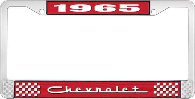 OER 1965 Chevrolet Style #5 Red and Chrome License Plate Frame with White Lettering LF2236505C