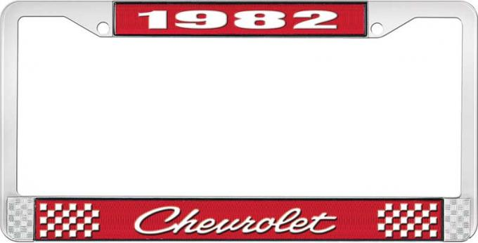OER 1982 Chevrolet Style # 4 Red and Chrome License Plate Frame with White Lettering LF2238204C