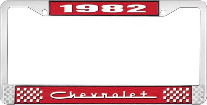 OER 1982 Chevrolet Style # 5 Red and Chrome License Plate Frame with White Lettering LF2238205C