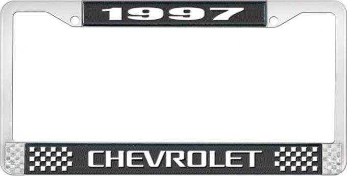 OER 1997 Chevrolet Style # 3 Black and Chrome License Plate Frame with White Lettering LF2239703A