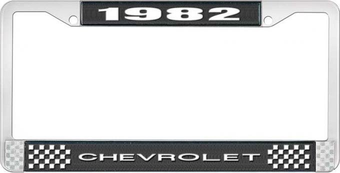 OER 1982 Chevrolet Style # 1 Black and Chrome License Plate Frame with White Lettering LF2238201A