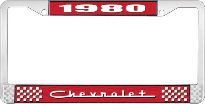 OER 1980 Chevrolet Style # 5 Red and Chrome License Plate Frame with White Lettering LF2238005C