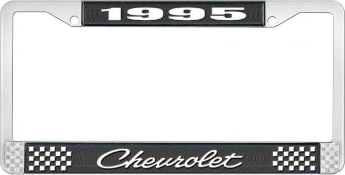 OER 1995 Chevrolet Style # Black and Chrome License Plate Frame with White Lettering LF2239504A