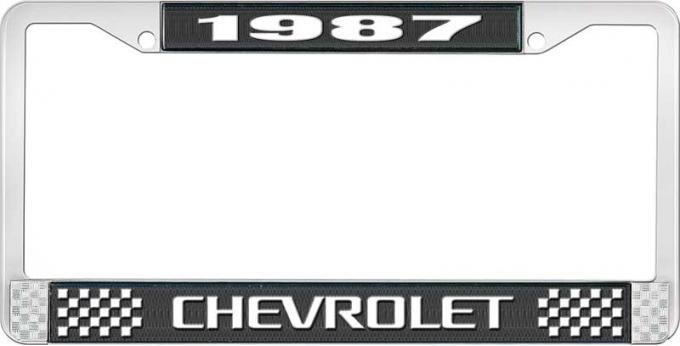 OER 1987 Chevrolet Style # 3 Black and Chrome License Plate Frame with White Lettering LF2238703A