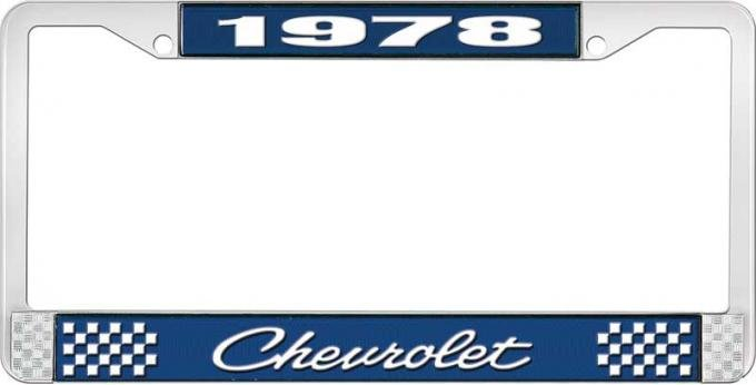 OER 1978 Chevrolet Style # 4 Blue and Chrome License Plate Frame with White Lettering LF2237804B