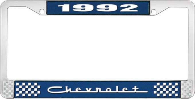OER 1992 Chevrolet Style # 5 Blue and Chrome License Plate Frame with White Lettering LF2239205B