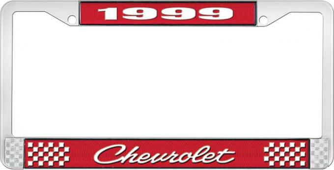 OER 1999 Chevrolet Style # 4 Red and Chrome License Plate Frame with White Lettering LF2239904C