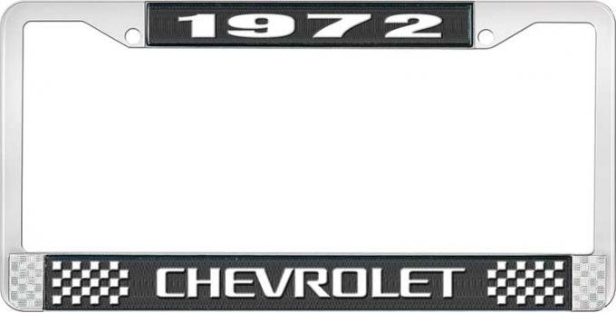 OER 1972 Chevrolet Style # 3 Black and Chrome License Plate Frame with White Lettering LF2237203A