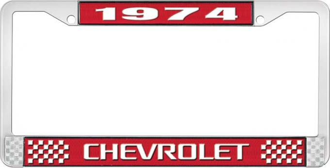 OER 1974 Chevrolet Style # 3 Red and Chrome License Plate Frame with White Lettering LF2237403C