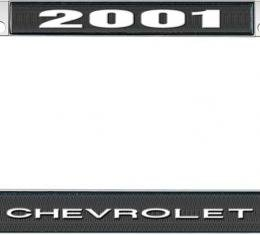 OER 2001 Chevrolet Style #1 - Black and Chrome License Plate Frame with White Lettering *LF2230101A
