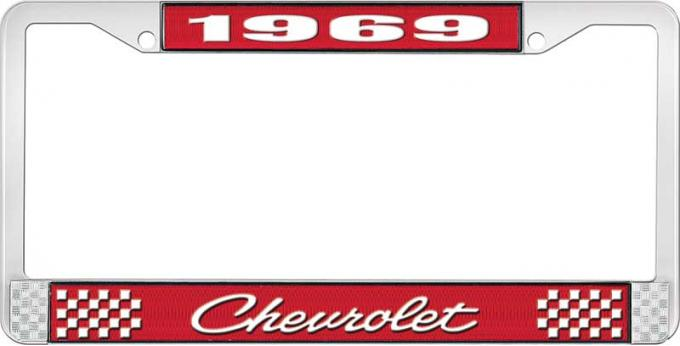 OER 1969 Chevrolet Style # 4 Red and Chrome License Plate Frame with White Lettering LF2236904C