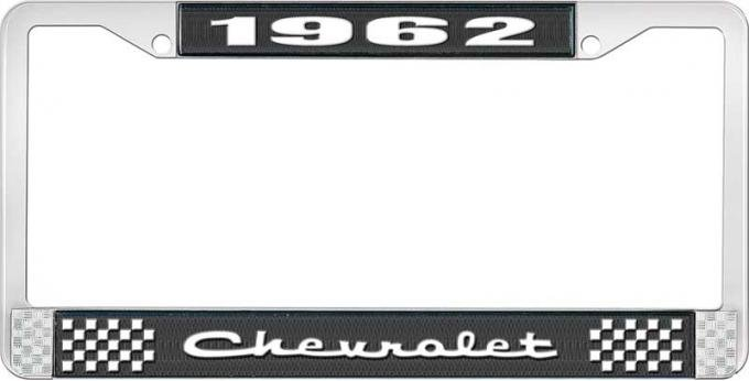 OER 1962 Chevrolet Style #2 Black and Chrome License Plate Frame with White Lettering LF2236202A