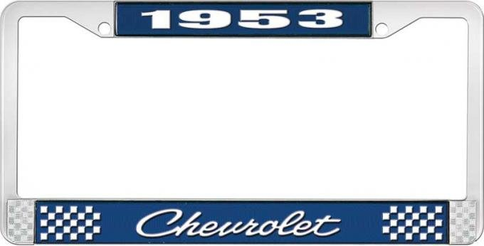 OER 1953 Chevrolet Style #4 Blue and Chrome License Plate Frame with White Lettering LF2235304B