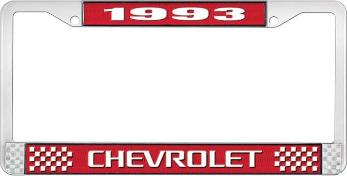 OER 1993 Chevrolet Style # 3 Red and Chrome License Plate Frame with White Lettering LF2239303C