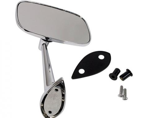 Corvette Outside Mirror, Chrome, Right With Mounting Kit 1968-1974