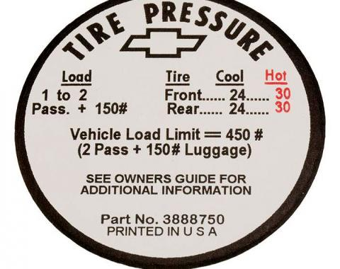 Corvette Decal, Tire Pressure-Glovebox, 1966