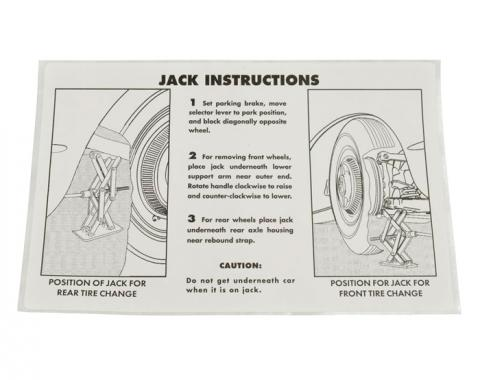 Corvette Decal, Jacking Instruction, 1953-1960