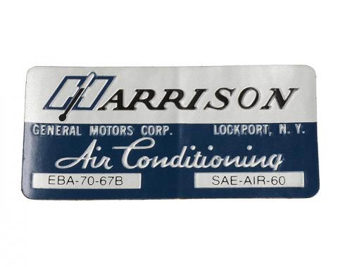 Corvette Decal, Air Conditioning Foil Plate, 1967
