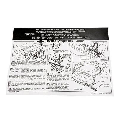 Corvette Decal, Jacking Instruction with Knock Off Wheel, 1963-1966