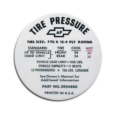 Corvette Decal, Tire Pressure-Glovebox, 1968-1972