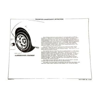 Corvette Instructions, Aluminum Wheel, 1976-1978