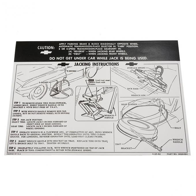 Corvette Decal, Jacking Instruction, 1965-1966