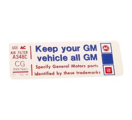 Corvette Decal, Air Cleaner Keep Your GM Car All GM, 1980