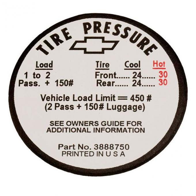 Corvette Decal, Tire Pressure-Glovebox, 1966