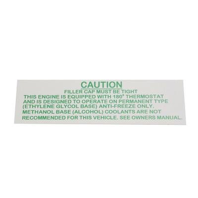 Corvette Decal, Rad Caution 63 Late/64 Early, 1963-1964