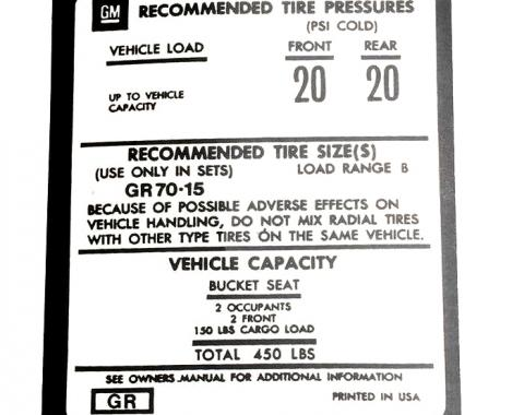 Corvette Decal, Tire Pressure on Door, 1973-1975