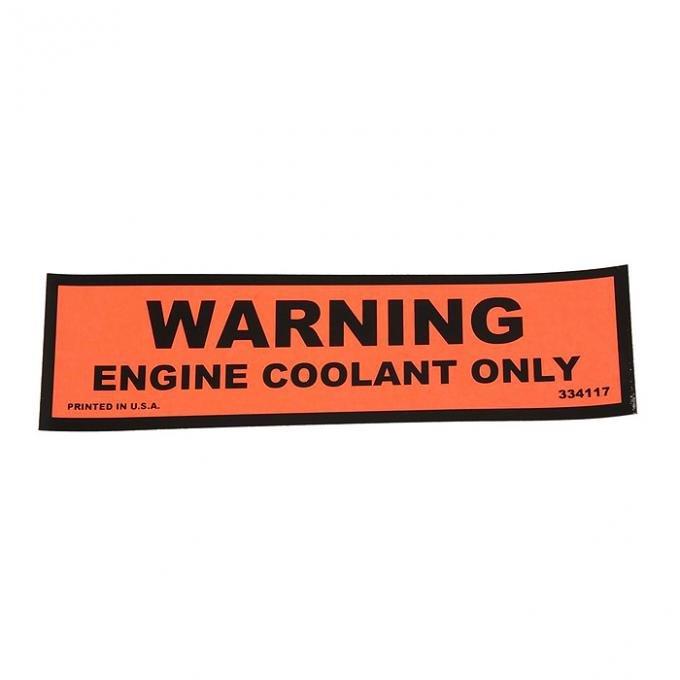 Corvette Decal, Coolant Warning, 1974-1978