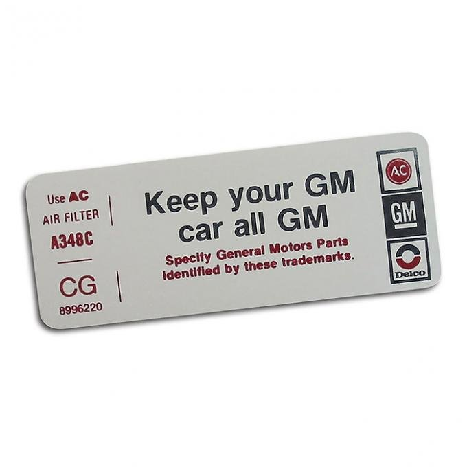 Corvette Decal, Air Cleaner Keep Your GM Car All GM, CG, 1978-1979