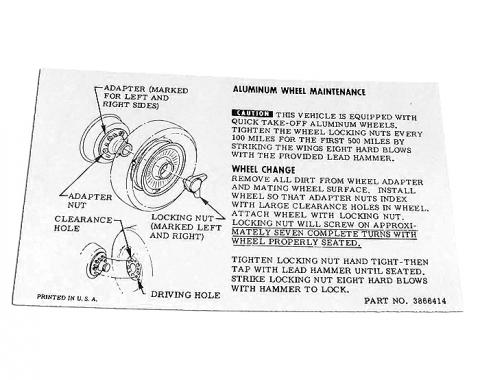 Corvette Instructions, Knock Off Wheel-Glovebox, 1964-1966