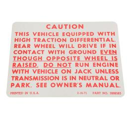 Corvette Decal, Positraction, 1972-1973