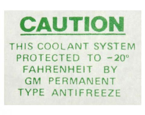 Corvette Radiator or Expansion Tank Caution Decal, (Excluding 58-60), 1955-1962