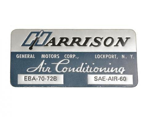 Corvette Decal, Air Conditioning Foil Plate, 1972