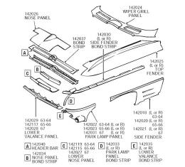 Corvette Nose T-Section Repair Panel, Front Upper, ACI, 1963-1964