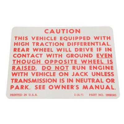 Corvette Decal, Positraction, 1972-1973